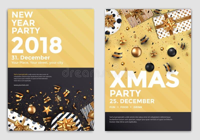 Progettazione dorata 2 di disegno dell'aletta di filatoio della festa di Natale illustrazione vettoriale