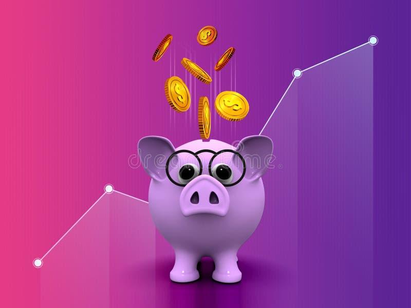 Progettazione dorata di risparmio di vendita 3d della gestione di investimento aziendale della moneta del dollaro del porcellino  illustrazione di stock