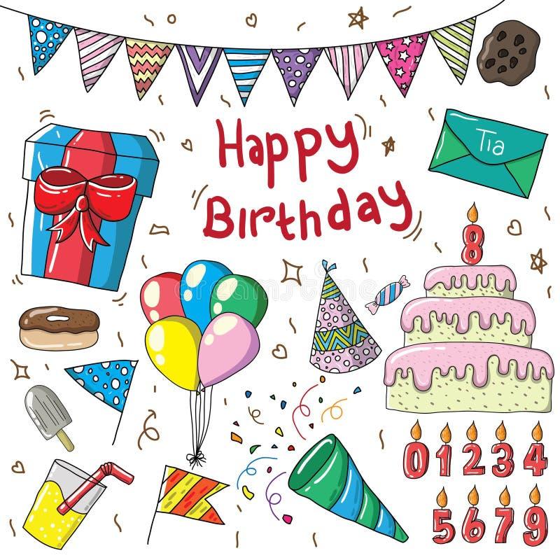 progettazione editabile dell'illustrazione dell'insieme di compleanno illustrazione vettoriale