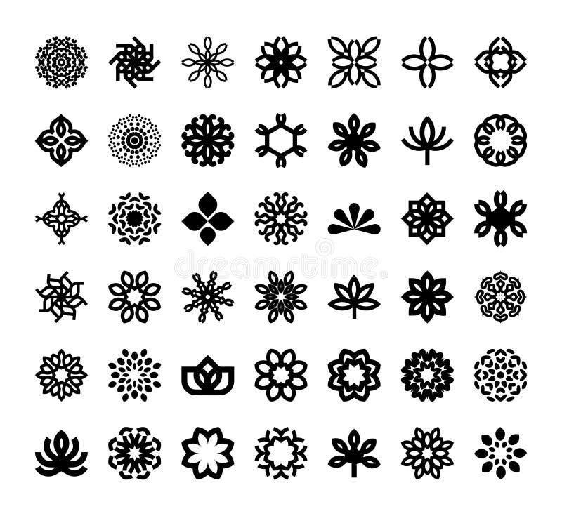 Progettazione elegante astratta di vettore dell'icona di logo del fiore Simbolo premio creativo universale Segno grazioso di vett illustrazione vettoriale