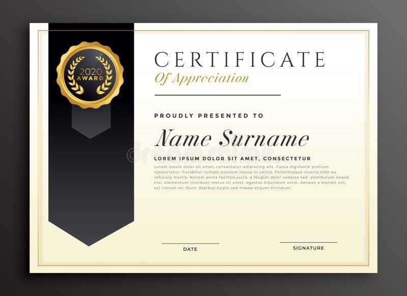 Progettazione elegante del modello del certificato del premio del diploma illustrazione di stock