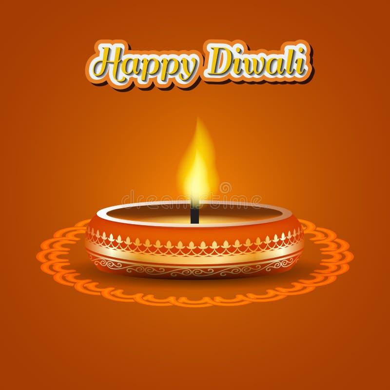 Progettazione elegante moderna di diwali con la candela con decorato dorato Progettazione d'avanguardia del fondo di Diwali Illus illustrazione di stock