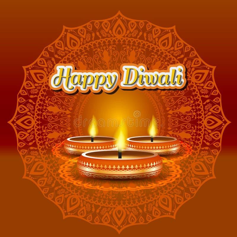 Progettazione elegante moderna di diwali con la candela con decorato dorato Progettazione d'avanguardia del fondo di Diwali Illus illustrazione vettoriale
