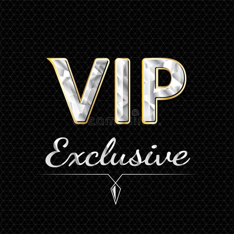Progettazione esclusiva di logo di VIP Concetto di lusso illustrazione vettoriale
