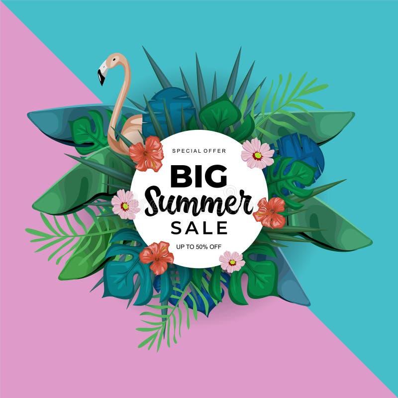 Progettazione esotica del modello di progettazione di vendita di estate con l'uccello tropicale del fenicottero e della giungla s illustrazione di stock