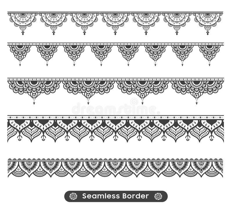 Progettazione etnica del confine della mandala di nuovo vettore attraente illustrazione vettoriale