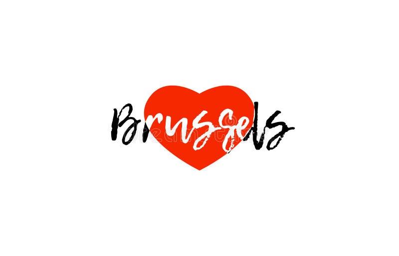 Progettazione europea di logo del testo del cuore di amore di Bruxelles della capitale royalty illustrazione gratis