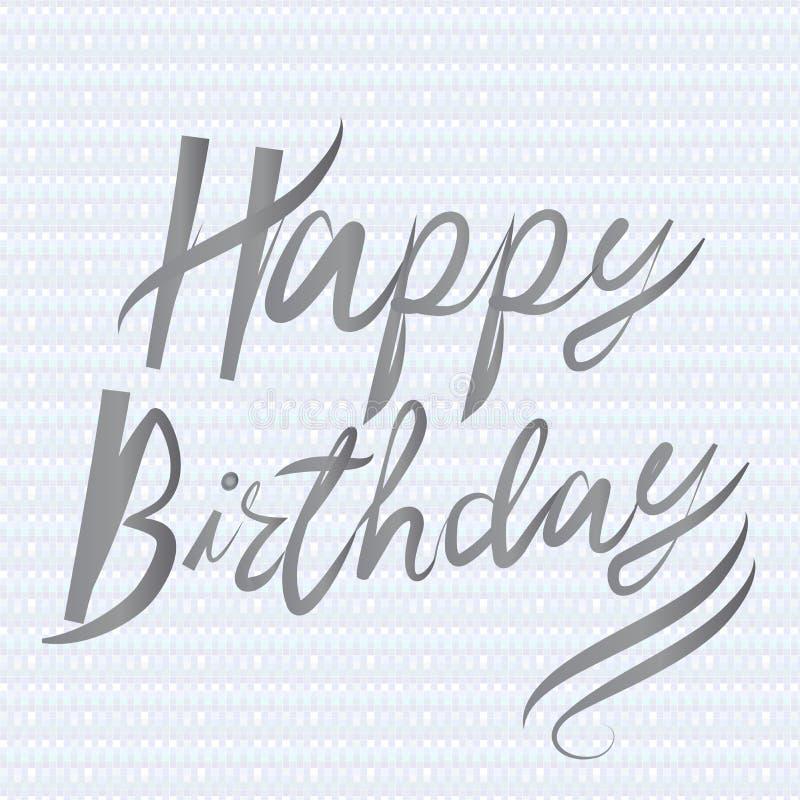 Progettazione fatta a mano di vettore dell'icona di calligrafia di parole di buon compleanno illustrazione vettoriale