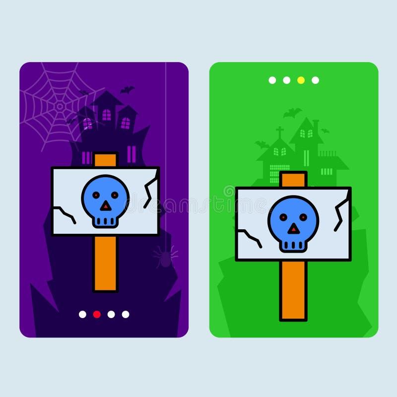 Progettazione felice dell'invito di Halloween con il vettore del bordo del pericolo royalty illustrazione gratis