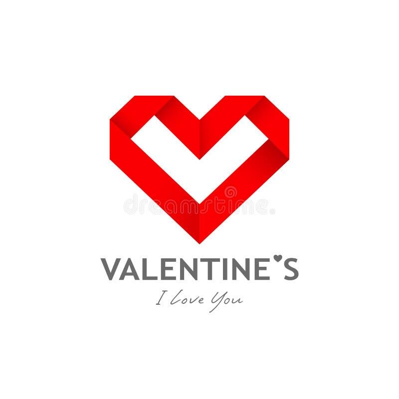 Progettazione felice della carta del cuore di origami di giorno di S. Valentino illustrazione di stock