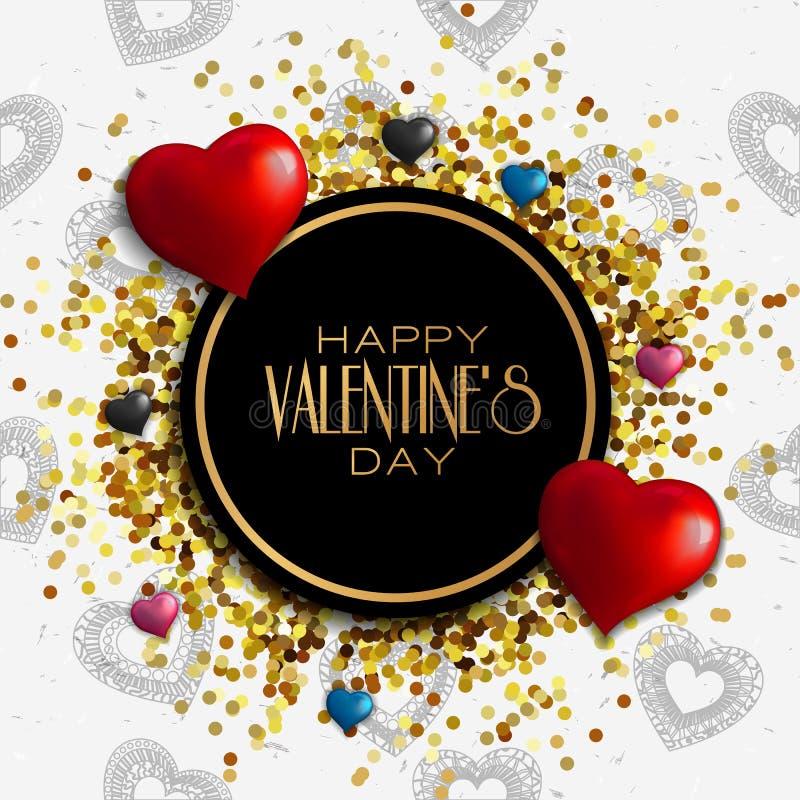 Progettazione felice della cartolina d'auguri di giorno del ` s del biglietto di S. Valentino con la struttura illustrazione vettoriale