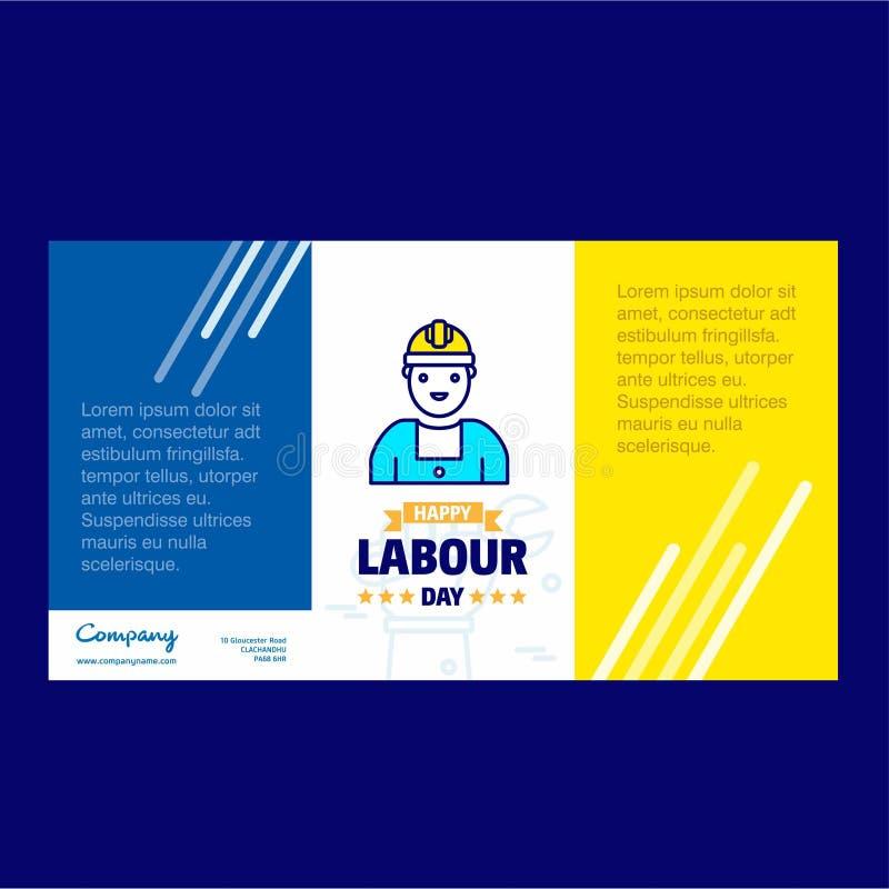Progettazione felice di giorno di lavoro con il vettore blu e giallo di tema con la l illustrazione vettoriale