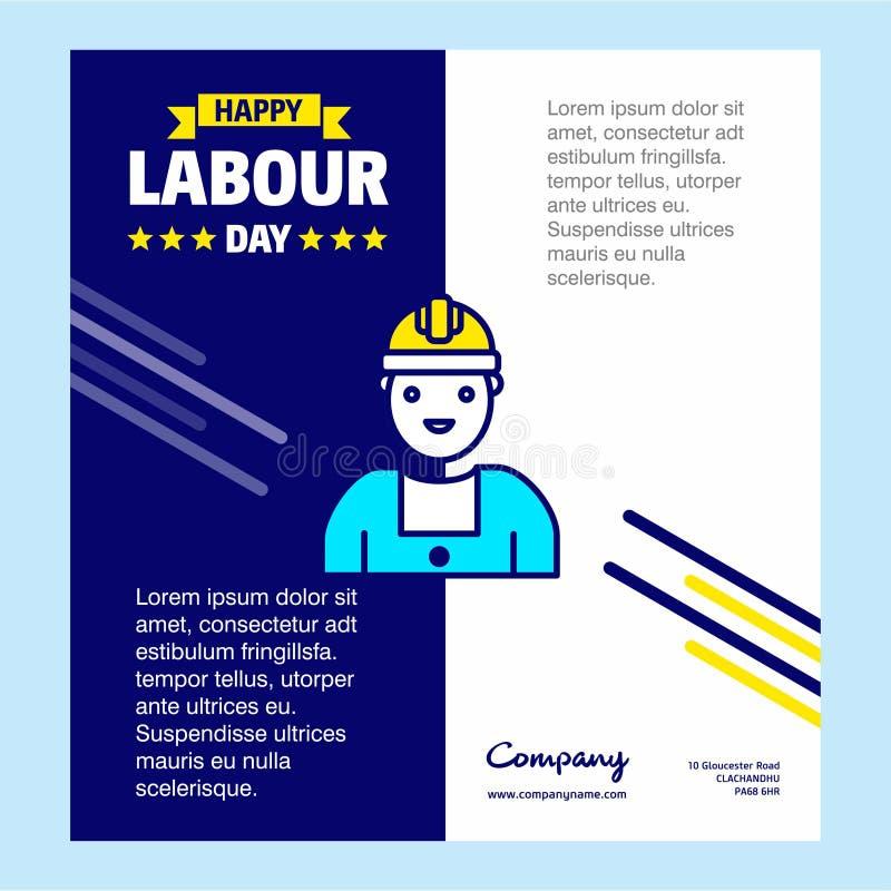 Progettazione felice di giorno di lavoro con il vettore blu e giallo di tema con la l royalty illustrazione gratis
