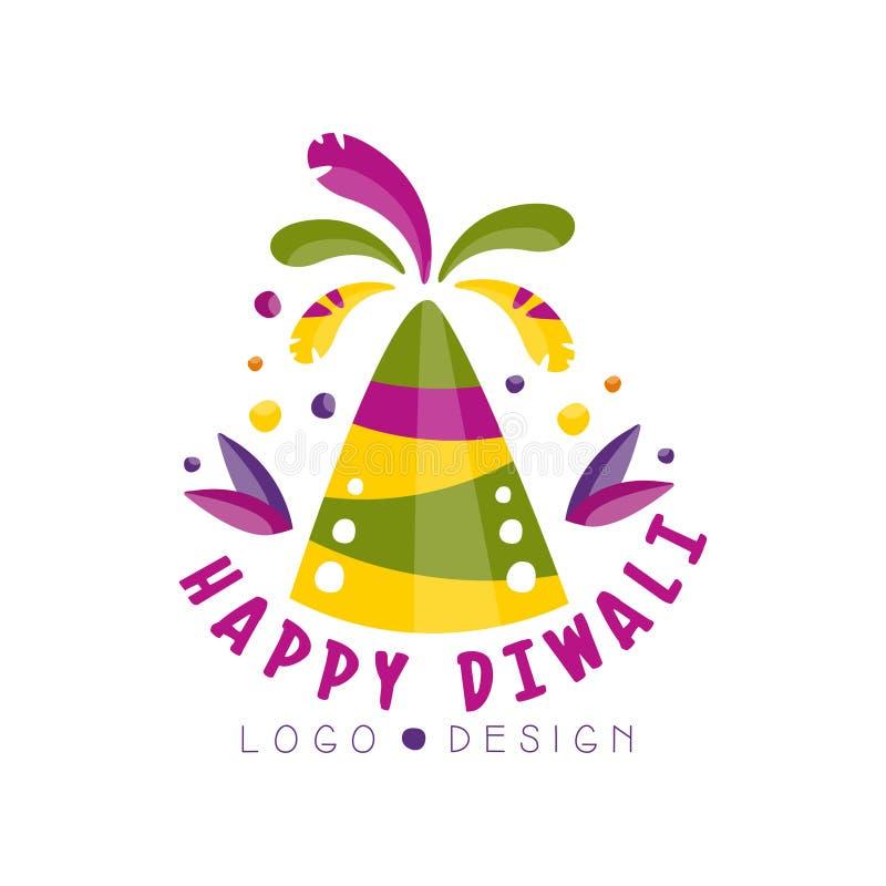 Progettazione felice di logo di Diwali, festival delle luci etichetta variopinta, manifesto, invito, aletta di filatoio, vettore  royalty illustrazione gratis