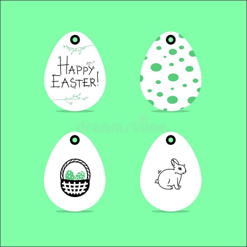 Progettazione felice di pasqua Etichette del regalo con le illustrazioni di Pasqua pasqua illustrazione di stock