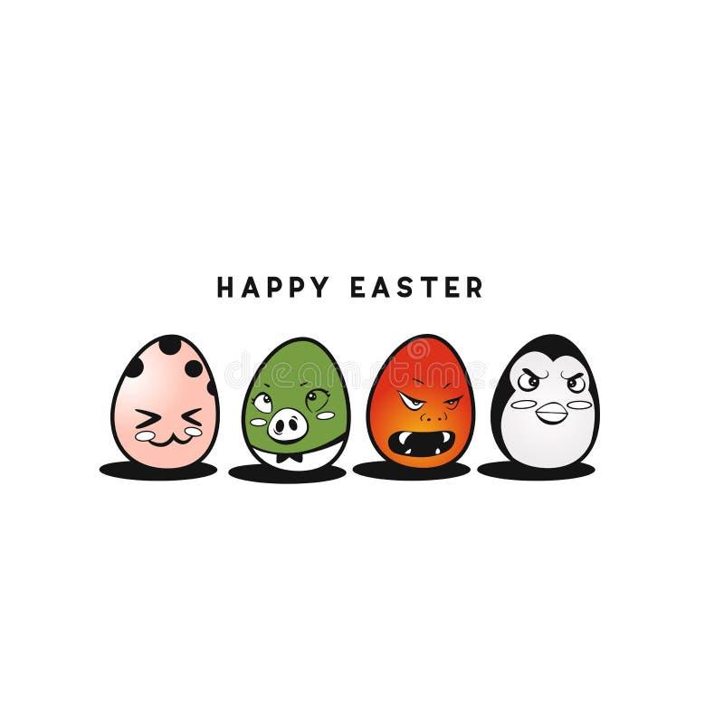 Progettazione felice variopinta dell'illustrazione di vettore delle uova di Pasqua fotografia stock libera da diritti