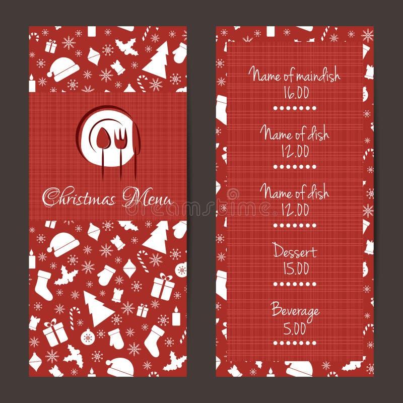 Progettazione festiva del menu di Natale royalty illustrazione gratis