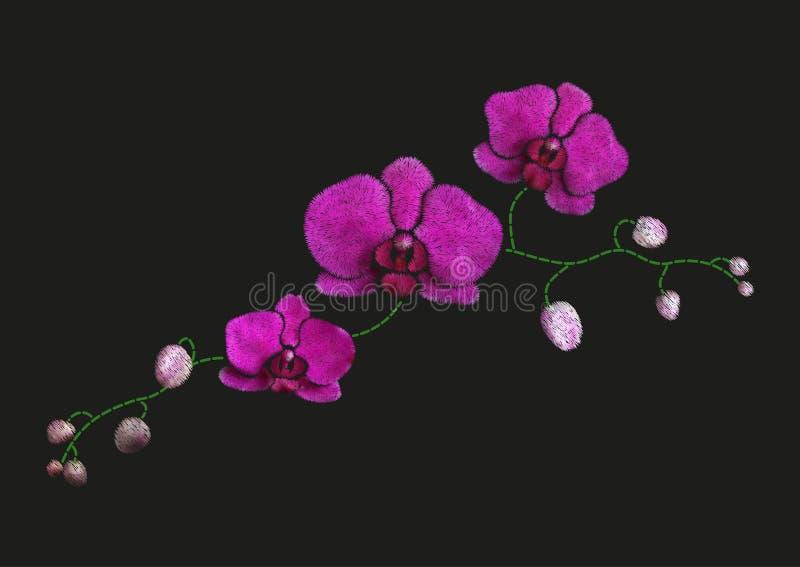Progettazione floreale d'imitazione del modello del ricamo Vector l'ornamento di modo del punto di raso dell'illustrazione con il illustrazione vettoriale