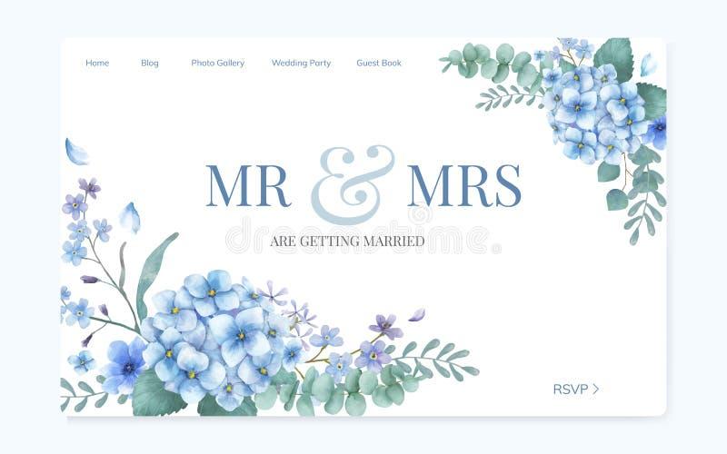 Progettazione floreale del sito Web dell'invito di nozze illustrazione vettoriale