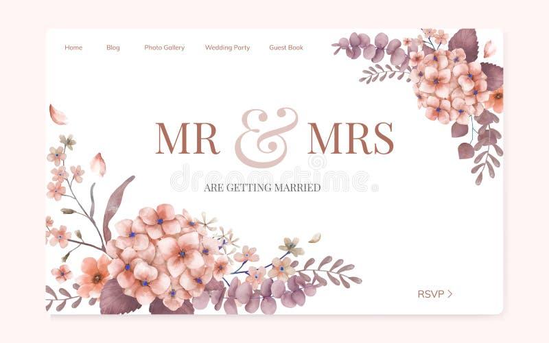 Progettazione floreale del sito Web dell'invito di nozze royalty illustrazione gratis