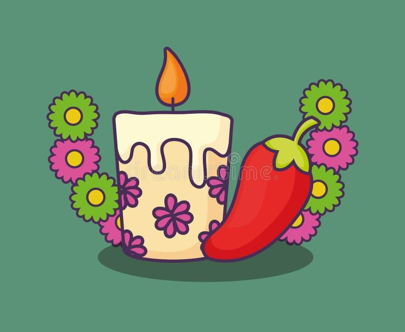 Progettazione floreale della candela royalty illustrazione gratis