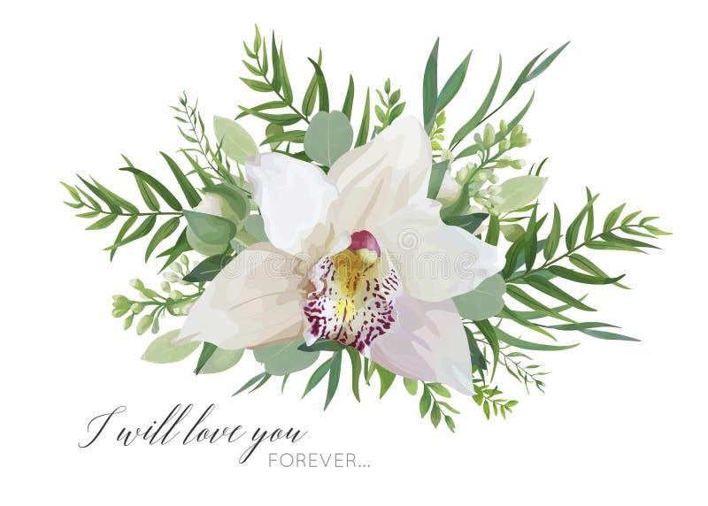 Progettazione floreale della cartolina d'auguri di vettore con il mazzo elegante di bianco royalty illustrazione gratis