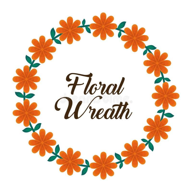 Progettazione floreale della corona illustrazione di stock