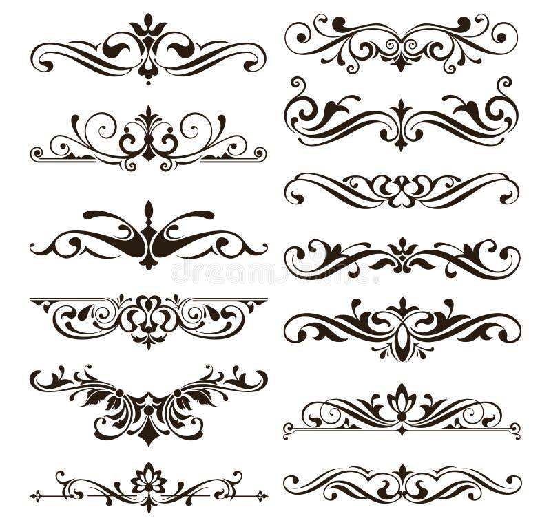 Progettazione floreale di art deco degli autoadesivi dei confini delle strutture degli angoli degli elementi degli ornamenti retr illustrazione di stock