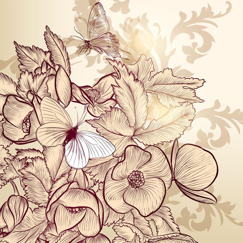 Progettazione floreale di vettore con i fiori e le farfalle disegnati a mano illustrazione vettoriale