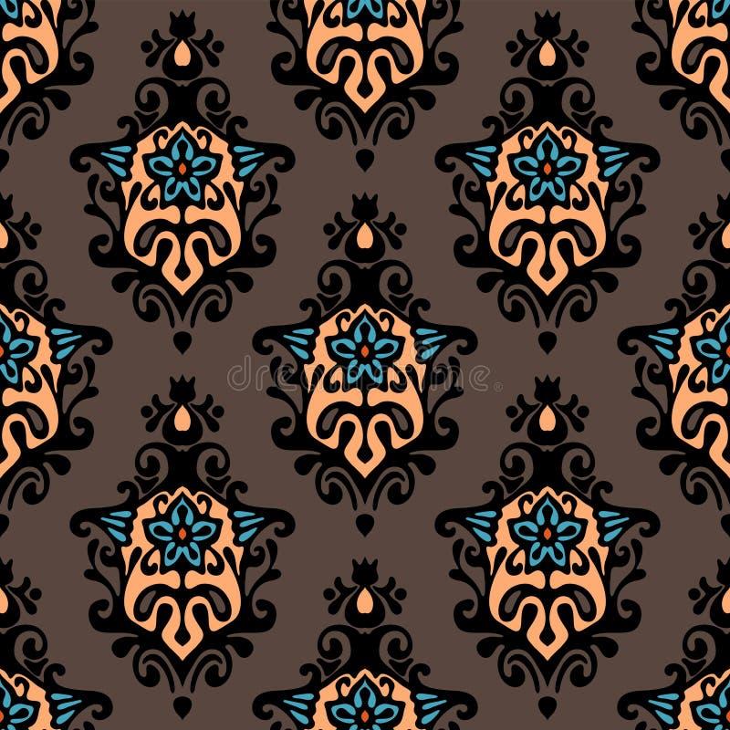 Progettazione floreale di vettore del damasco illustrazione di stock