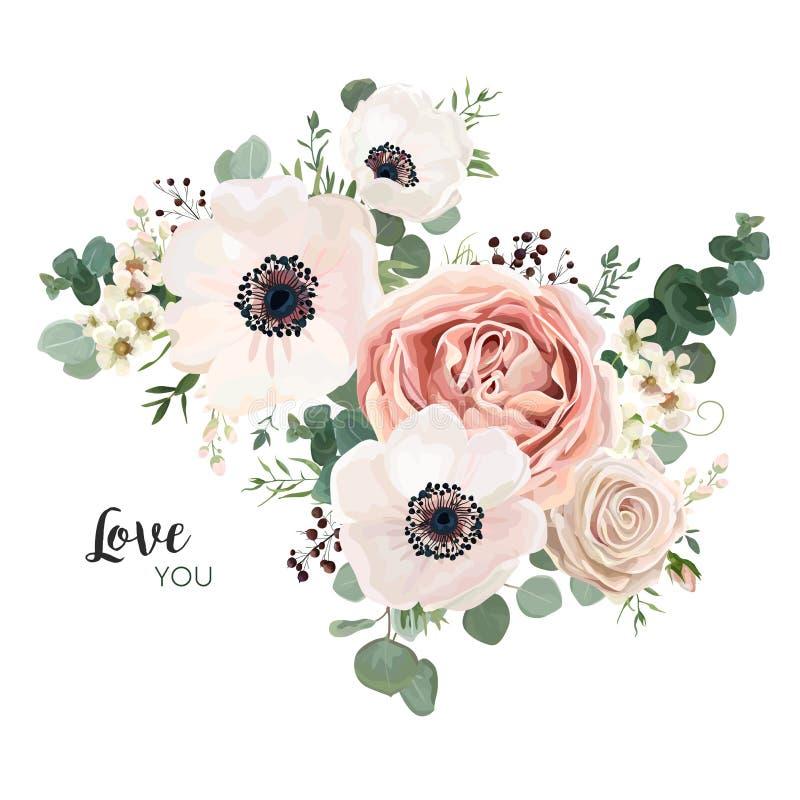 Progettazione floreale di vettore della carta: pesca ROS di rosa della lavanda del fiore del giardino illustrazione vettoriale