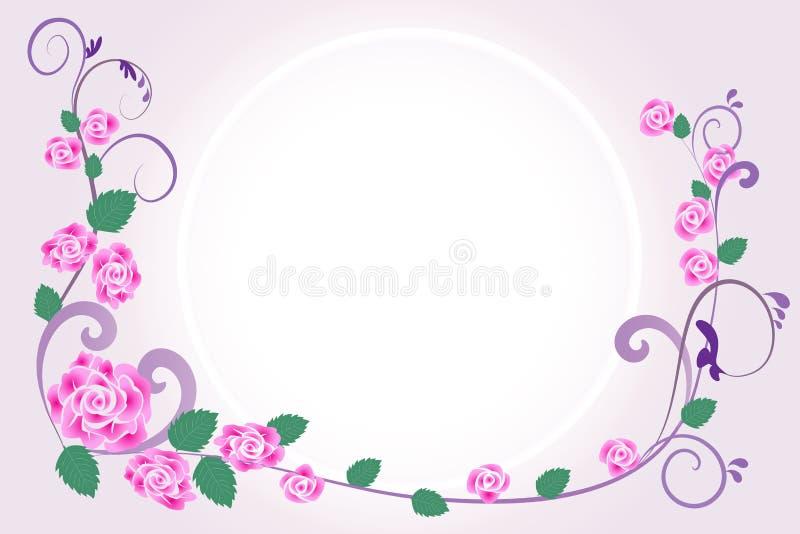 Progettazione floreale di vettore della cartolina d'auguri dell'invito di nozze illustrazione di stock