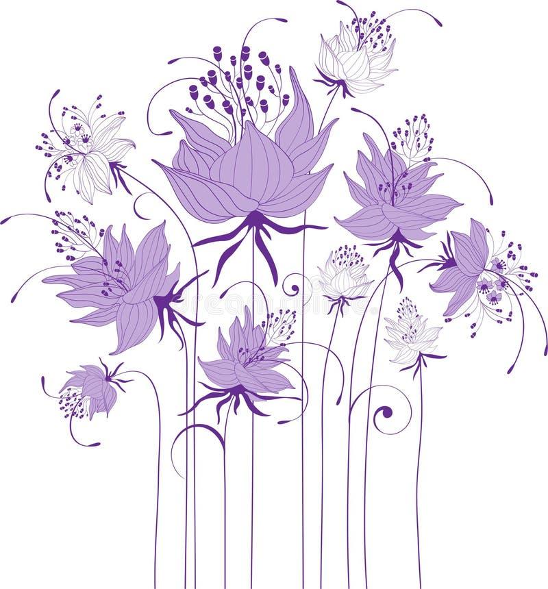 Progettazione floreale, fiori stilizzati royalty illustrazione gratis