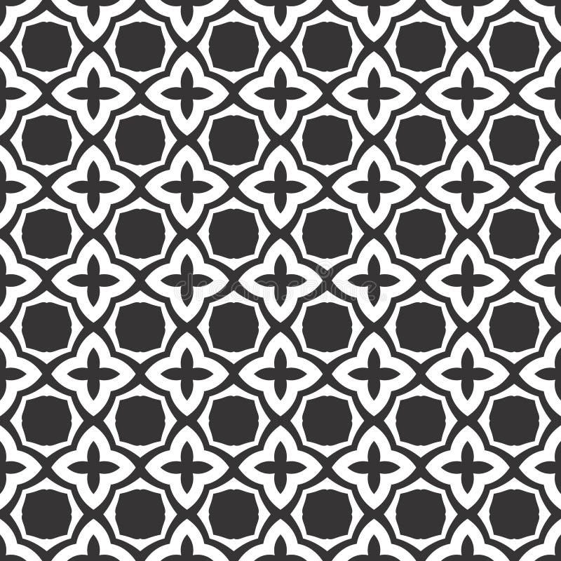 Progettazione floreale geometrica dell'estratto in bianco e nero di vettore, modello senza cuciture o progettazione illustrazione vettoriale