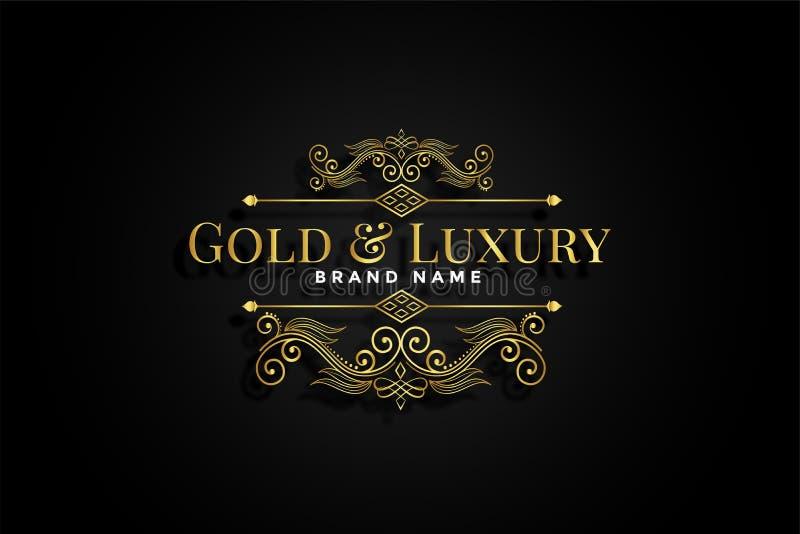 Progettazione floreale ornamentale dorata premio dell'etichetta illustrazione di stock