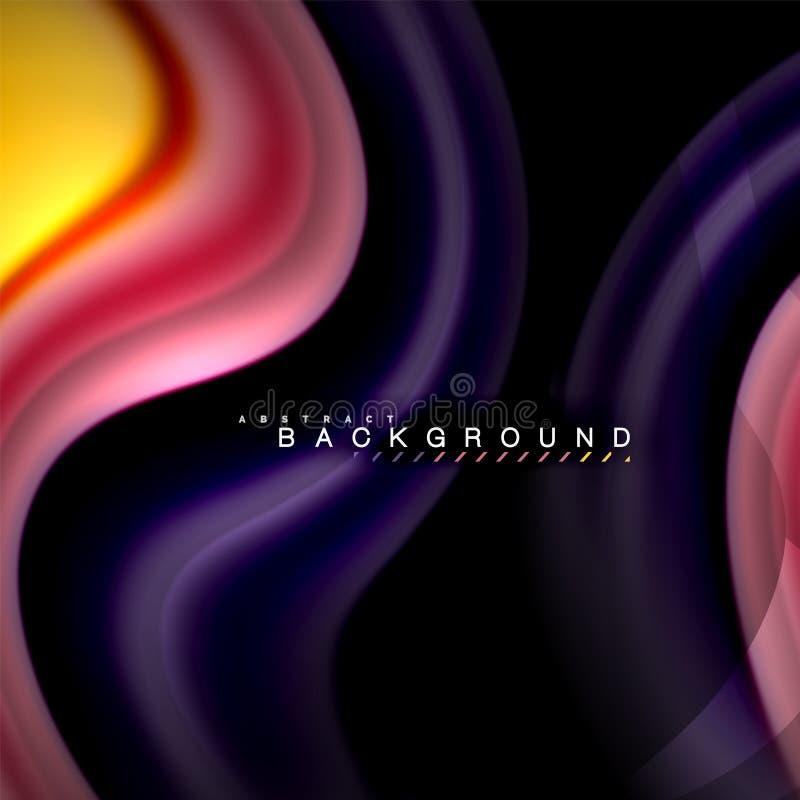 Progettazione fluida del fondo dell'estratto dell'onda di vettore di colori di miscelazione Onde variopinte della maglia royalty illustrazione gratis
