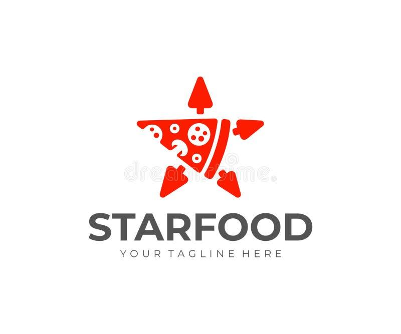 Progettazione a forma di stella di logo della fetta della pizza Progettazione di vettore di consegna della pizza royalty illustrazione gratis