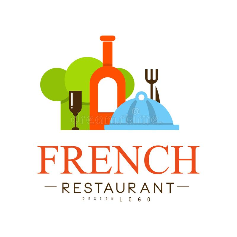 Progettazione francese di logo del ristorante, illustrazione continentale tradizionale autentica di vettore dell'etichetta dell'a royalty illustrazione gratis