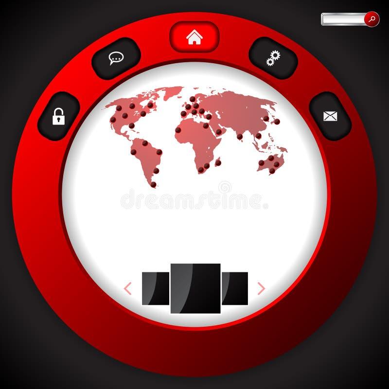 Progettazione fresca del modello del sito Web con l'anello rosso royalty illustrazione gratis