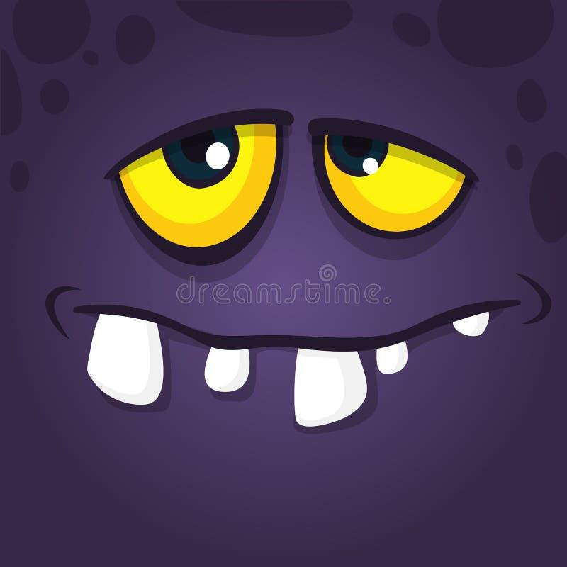 Progettazione fresca felice dell'avatar del fronte del mostro del fumetto Carattere del mostro del nero di Halloween di vettore illustrazione vettoriale