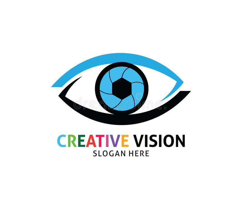 Progettazione futura di logo di vettore di visione dell'occhio del diaframma dell'otturatore illustrazione di stock