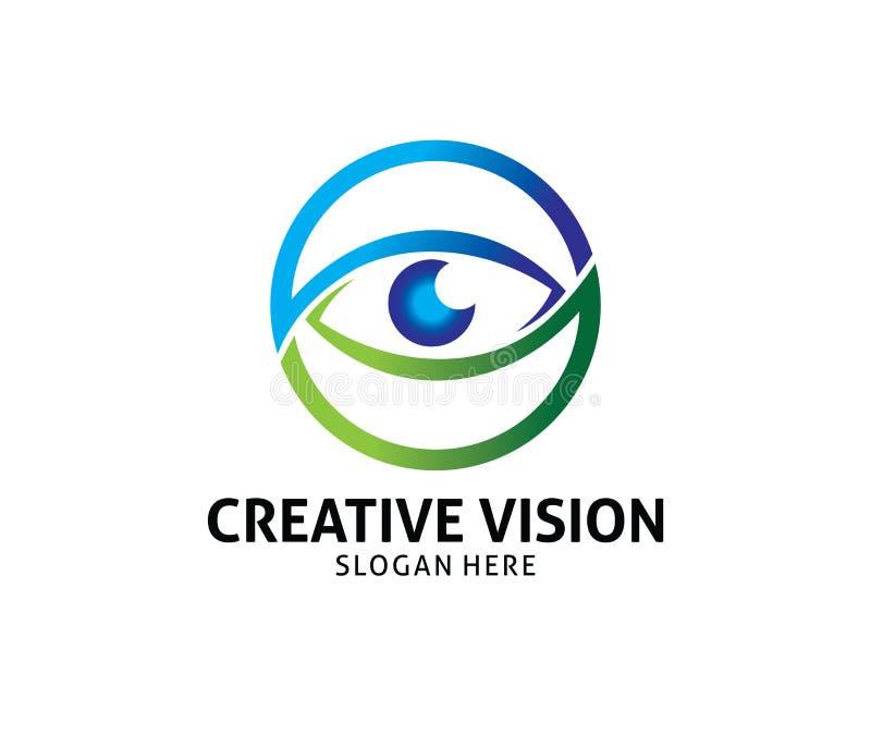 Progettazione futura di logo di vettore di visione dell'occhio ottico di tecnologia royalty illustrazione gratis