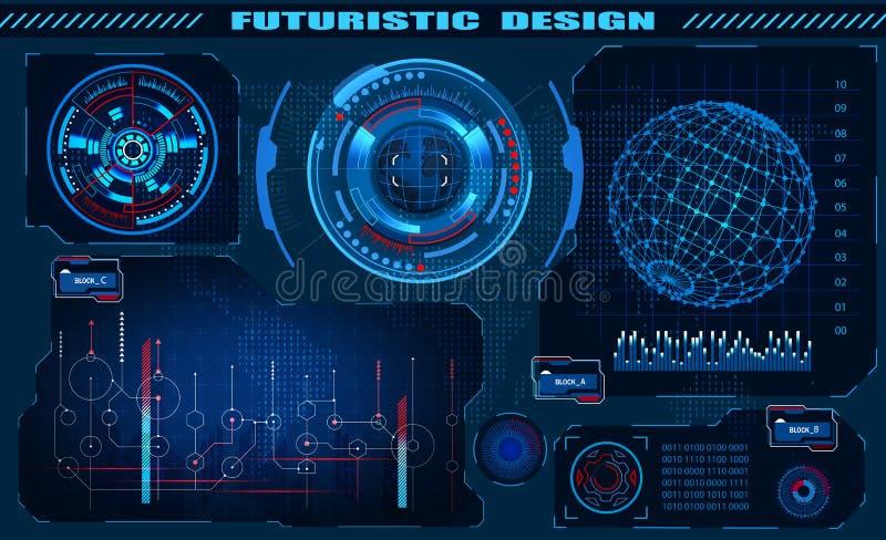 Progettazione futuristica del hud dell'interfaccia grafica, elementi infographic, ologramma del globo Tema e scienza, il tema di illustrazione vettoriale
