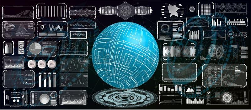 Progettazione futuristica del hud dell'interfaccia per l'affare app illustrazione di stock