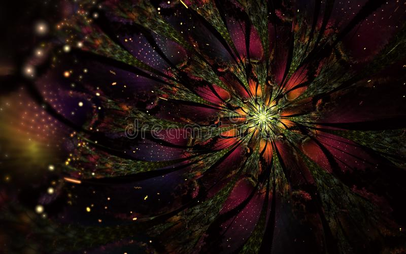 Progettazione generata da computer astratta del fiore di frattale Materiale illustrativo di Digital per il fondo della compressa, illustrazione di stock