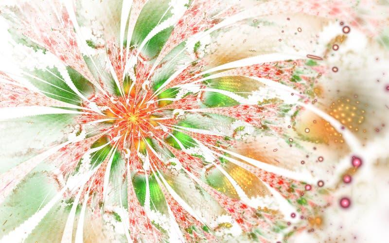 Progettazione generata da computer astratta del fiore di frattale Materiale illustrativo di Digital per il fondo della compressa, royalty illustrazione gratis