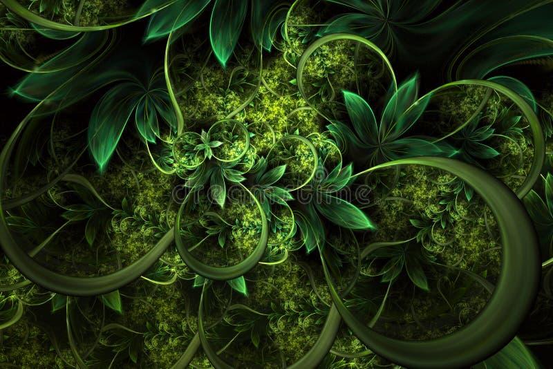 Progettazione generata da computer astratta di frattale della pianta Materiale illustrativo di Digital per il fondo della compres illustrazione di stock