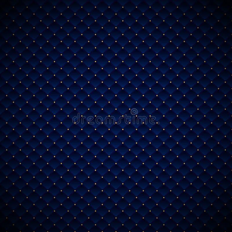 Progettazione geometrica blu di lusso del modello dei quadrati dell'estratto con i punti dorati su fondo scuro illustrazione di stock