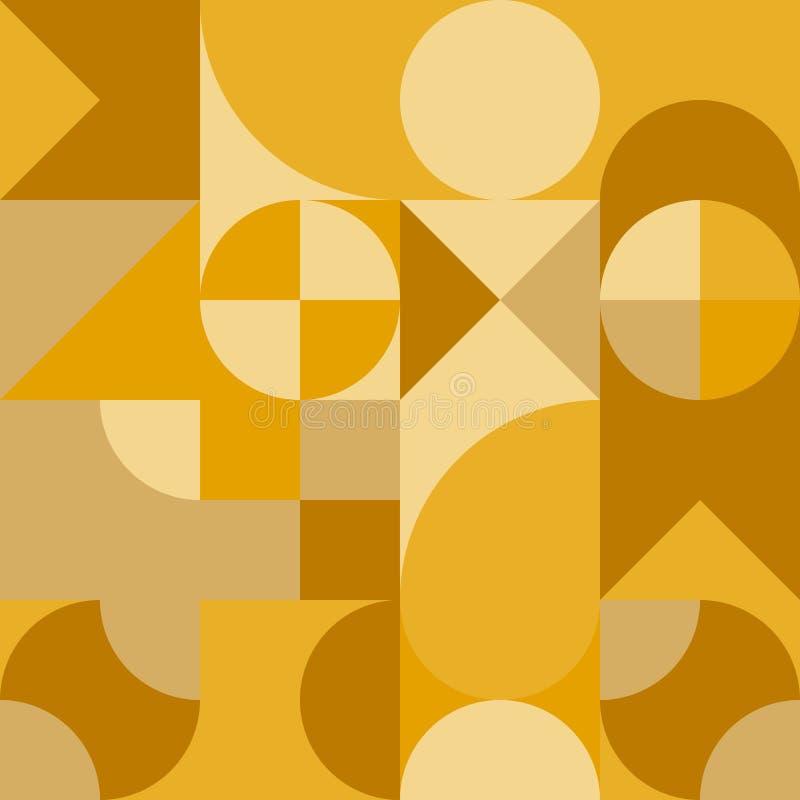 Progettazione geometrica dell'estratto retro Modello senza cuciture di vettore in tonalità gialle illustrazione vettoriale