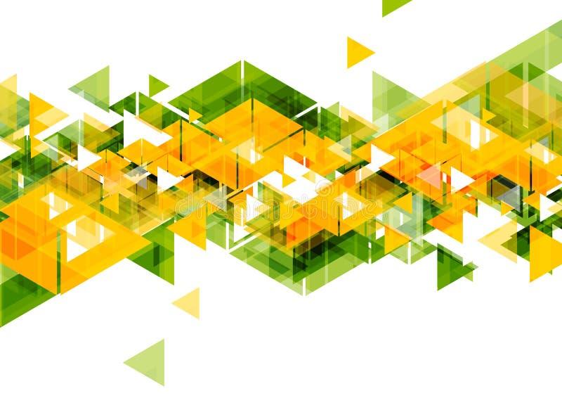 Progettazione geometrica dell'estratto verde arancio dei triangoli illustrazione vettoriale